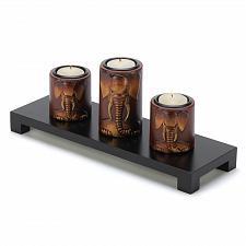 Buy 14654U - Elephant 3D Carving Wood Tray 3 Tea Light Candle Holders