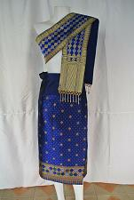 """Buy Blue Lao Laos Synthetic silk sinh Skirt waist free size to 40"""" Pha bieng Beads"""
