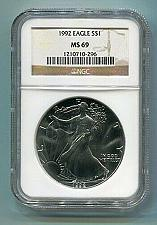 Buy 1992 AMERICAN SILVER EAGLE NGC MS69 BROWN LABEL PREMIUM QUALITY NICE COIN PQ