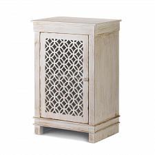 Buy *18836U - Geometric Cutwork Distressed White Cabinet 1 Shelf