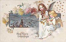 Buy New Years Greetings, Cherubs Playing Instruments Embossed Vintage Postcard