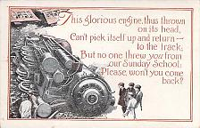 Buy Interesting Train Wreck and Sunday School Request Vintage Postcard