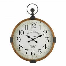 Buy *18812U - Vintage Industrial Brown Wood Pocket Watch Style Wall Clock