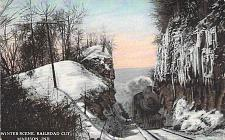 Buy Winter Scene, Railroad Cut w/ Steam Engine, Madison, Indiana Vintage Postcard
