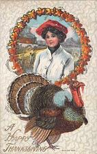 Buy A Happy Thanksgiving Girl and Turkey Embossed Vintage Postcard