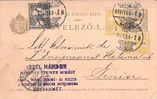 Buy Hungary 1906 Postal Card Stationery to Geneva Switzerland franked 1, 2x2 Filler