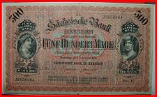 Buy ★SAXONY ★ RARE GERMANY BANK OF SAXONY 500 MARK 1911! LOW START! NO RESERVE!