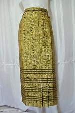 "Buy Woman Thai Tradition Black Gold Wrap Sarong long Skirt Waist 32"" US 12 SK10"