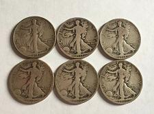 Buy 6- EARLY DATE WALKING LIBERTY HALF DOLLARS. 1917-1920 P,D & S MINT MARKS. WLH-5