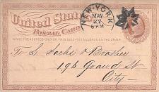 Buy 1874 UX1, Bookman GR-138 New York City Flower Fancy Cancel to Sachs Furriers