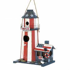 Buy *18077U - Patriotic Flag Wood Lighthouse Birdhouse