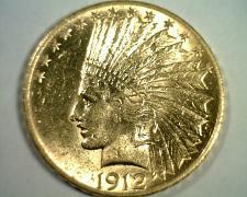 Buy 1912 TEN DOLLAR INDIAN HEAD GOLD UNCIRCULATED+ UNC.+ NICE ORIGINAL COIN