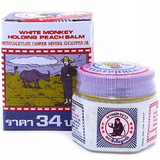 Buy White Monkey Holding Peach Medicated Balm Pain Relief Thailand 18g