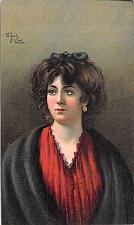 Buy Portrait of a Young Woman, German Lithograph Artist Signed Vintage Postcard