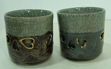 Buy 2 Vintage Somayaki Hand Crafted Tea Cups Double-Walled Made in Japan