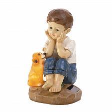 "Buy *18057U - My Pup And I Garden Figurine 9 1/2"" Solar Light Up Statue"