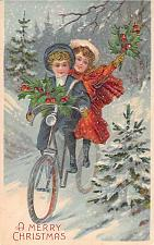 Buy A Merry Christmas Children Riding Bicycle Embossed Vintage Postcard