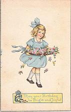 Buy May Your Birthday Be Bright and Joyful Young Girl Art Vintage Postcard
