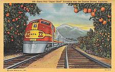 Buy Santa Fe's Super Chief Traveling Through California Orange Groves Postcard