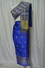 Buy Blue Lao Laos Laotian Synthetic Silk Fabric Glue for sinh Skirt Pha Bieng LPG8