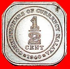 Buy ★WAR PERIOD: MALAYA ★ 1/2 CENT 1940! UNCOMMON! LOW START★ NO RESERVE! George VI