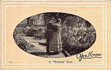 """Buy A """"Waisted"""" Arm Embossed Fancy Border Vintage Romance Postcard"""
