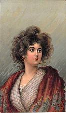 Buy Portrait of a Young Woman, German Lithograph Artist Signed Vintage Postcard #2