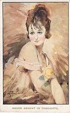 Buy Young Woman Never Absent in Thoughts Art Signed Vintage Used Postcard