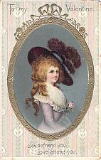 Buy To My Valentine, Joy Befriend You Young woman Framed Embossed Vintage Postcard