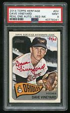 Buy 2014 TOPPS HERITAGE REAL ONE RED AUTO DAVE VINEYARD PSA 9 MINT (40778341)