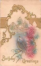 Buy Birthday Greeting Air Brushed Heavily Embossed Vintage Postcard