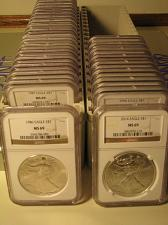 Buy 1986 - 2019 AMERICAN SILVER EAGLE 34 COIN SET NGC MS69 BROWN PREMIUM COINS PQ