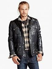 Buy Lucky Brand Mens NWT`s L Black Label Lambskin Leather Wax Mix Jacket $299.00