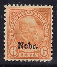 "Buy 1929 6c James A. Garfield ""Nebraska Overprint"" Scott 675 Mint F/VF NH"