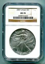 Buy 2007 AMERICAN SILVER EAGLE NGC MS70 BROWN MS 70 PRISTINE COIN AND SLAB PQ