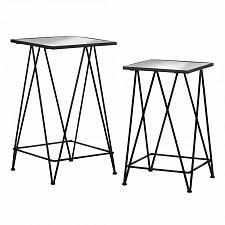 Buy *18502U - Modern Black Iron Square Glass Tables 2pc Set