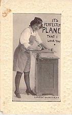 Buy It's Perfectly Plane I Love You Embossed Fancy Border Vintage Romance Postcard