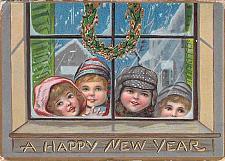 Buy A Happy New Year, Children Looking in Window Embossed Vintage Postcard