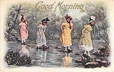 Buy Good Morning Four Ladies on Stepping Stones Vintage Used Postcard
