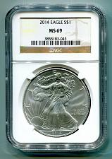 Buy 2014 AMERICAN SILVER EAGLE NGC MS 69 BROWN LABEL PREMIUM QUALITY MS69 PQ