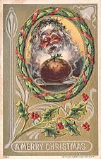 Buy A Merry Christmas Santa Clau sHolding Snack Embossed Vintage Postcard