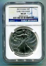 Buy 2013 AMERICAN SILVER EAGLE NGC MS69 EARLY RELEASES BLUE PREMIUM QUALITY PQ