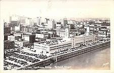Buy Ariel View from Hawthorne Bridge, Portland Oregon, Real Photo Vintage Postcard