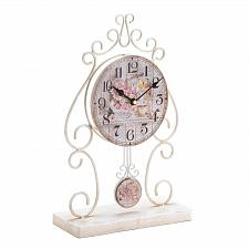 Buy *18004U - Country Rose White Iron Pendulum Look Tabletop Clock