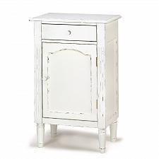 Buy 39093U - Antiqued Wood Storage Cabinet 1 Drawer Shelf White Distressed Finish