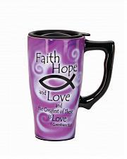 Buy :10580U - Faith Hope And Love Purple 16oz Ceramic Travel Mug
