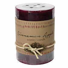 Buy :10921U - 2ct Cinnamon Apple Scented Tri-color Brown Pillar Candle 3x4