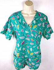 Buy Carol's Scrubs Women's Scrub Top Umbrella Hearts Short Sleeve Size Small