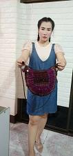 Buy Thai HMONG Hill Tribe Ethnic Rose Floral Embroidered Tote Bag Handbag BM-272