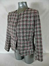 Buy DRESSBARN womens Sz PL L/S pink gray white JEWELED BUTTON tweed jacket (A9)P